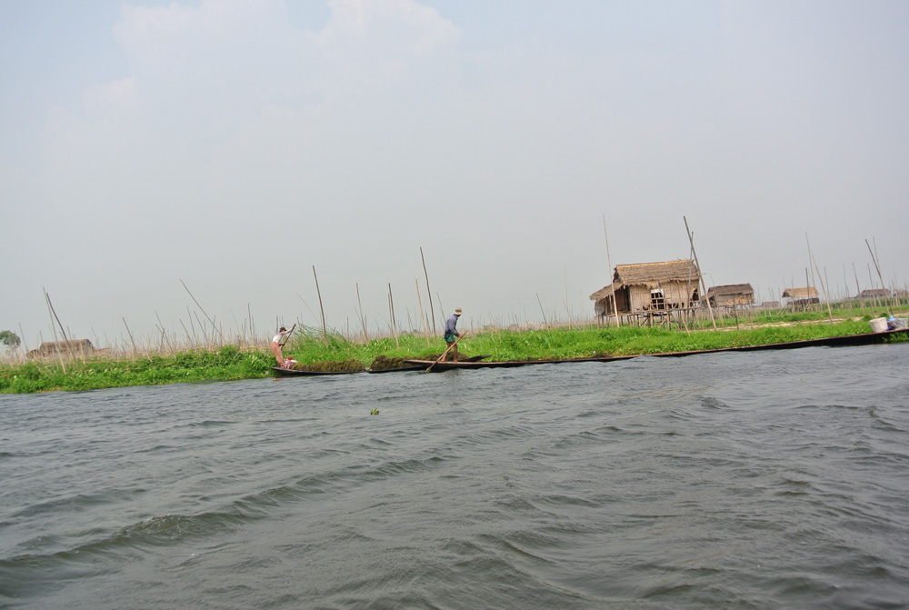 Floating gardens en huizen op bamboopalen